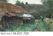 Windt Chris Van Der - Behind the Farmhouse - Dutch School - 19th ... Редакционное фото, фотограф Artepics / age Fotostock / Фотобанк Лори