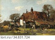 Windt Chris Van Der - by the Farmhouse - Dutch School - 19th Century. Редакционное фото, фотограф Artepics / age Fotostock / Фотобанк Лори