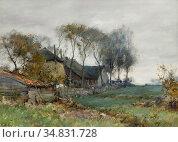 Windt Chris Van Der - a Farmhouse in a Polder Landscape - Dutch School... Редакционное фото, фотограф Artepics / age Fotostock / Фотобанк Лори