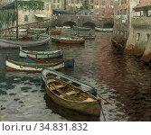 Wolter Hendrik Jan - the Harbour of Camogli Italy - Dutch School - ... Редакционное фото, фотограф Artepics / age Fotostock / Фотобанк Лори
