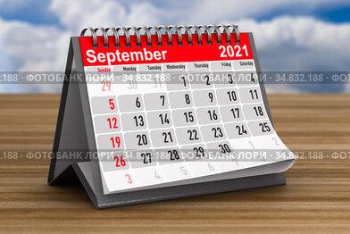 2021 year. Calendar for September. 3D illustration