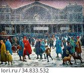 Luce Maximilien - the Gare De L 'est in Snow - French School - 19th... Стоковое фото, фотограф Artepics / age Fotostock / Фотобанк Лори
