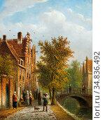 Spohler Johannes Franciscus - Aan De Amsterdamse Gracht - Dutch School... Редакционное фото, фотограф Artepics / age Fotostock / Фотобанк Лори