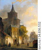 Springer Cornelis - Ansicht Einer Mittelalterlichen Stadt Mit Romanischer... Редакционное фото, фотограф Artepics / age Fotostock / Фотобанк Лори