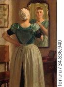 Waay Nicolaas Van Der - Voor De Spiegel - Dutch School - 19th Century. Редакционное фото, фотограф Artepics / age Fotostock / Фотобанк Лори