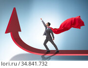 Young businessman in business concept with charts. Стоковое фото, фотограф Elnur / Фотобанк Лори