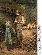 Meerts Frans - Het Meisje En De Bakker - Belgian School - 19th Century... Стоковое фото, фотограф Artepics / age Fotostock / Фотобанк Лори