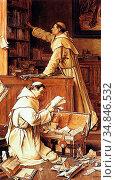 Decoene Jean Henri - the Lost Manuscript - Belgian School - 19th ... Стоковое фото, фотограф Artepics / age Fotostock / Фотобанк Лори