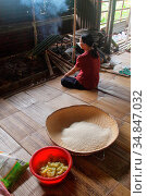 Bidayu women preparing food, kuching, sarawak, borneo (2016 год). Редакционное фото, фотограф Chew Chun Hian / age Fotostock / Фотобанк Лори