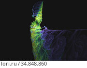 Computer generated fractal abstract background, like cocktail glass purple and green colors over dark space. Стоковая иллюстрация, иллюстратор Alexander Tihonovs / Фотобанк Лори
