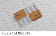 Electronic transistors of orange color 3d illustration. Стоковая иллюстрация, иллюстратор Евгений Забугин / Фотобанк Лори