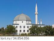 """Соборная мечеть """"Янъы Джами"""" в городе Саки, Крым (2020 год). Стоковое фото, фотограф Николай Мухорин / Фотобанк Лори"""