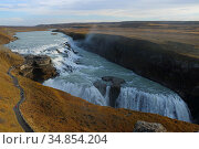 Guillfoss waterfalls, Iceland, October 2019. Стоковое фото, фотограф Philip  Stephen / Nature Picture Library / Фотобанк Лори