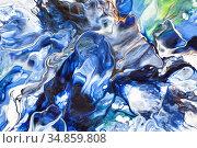 Acrylic paint pouring abctract background. Стоковая иллюстрация, иллюстратор Роман Сигаев / Фотобанк Лори