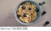 Bowl of wheat flakes and blueberries 4k. Стоковое видео, агентство Wavebreak Media / Фотобанк Лори