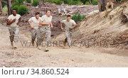 Military soldiers jogging at boot camp 4k. Стоковое видео, агентство Wavebreak Media / Фотобанк Лори