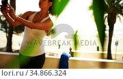 Woman taking selfie in balcony 4k. Стоковое видео, агентство Wavebreak Media / Фотобанк Лори