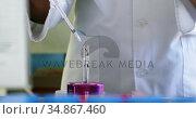 Scientist using pipette 4k. Стоковое видео, агентство Wavebreak Media / Фотобанк Лори
