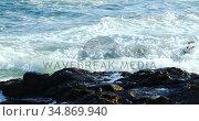 Waves splashing over the rock ion the sea 4k. Стоковое видео, агентство Wavebreak Media / Фотобанк Лори