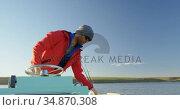 Man riding motorboat in river 4k. Стоковое видео, агентство Wavebreak Media / Фотобанк Лори
