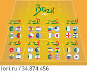 Fifa world cup groups with flags vector. Стоковое фото, агентство Wavebreak Media / Фотобанк Лори