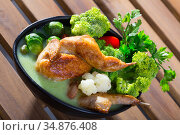 Soup from Brussels sprouts, cauliflower, broccoli with quail. Стоковое фото, фотограф Яков Филимонов / Фотобанк Лори