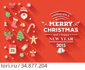 Merry christmas message vector with cute illustrations. Стоковое фото, агентство Wavebreak Media / Фотобанк Лори