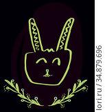 Greeting card with easter bunny drawing. Стоковое фото, агентство Wavebreak Media / Фотобанк Лори