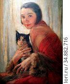 Auer Robert - Girl with Cat - Austrian School - 19th Century. Редакционное фото, фотограф Artepics / age Fotostock / Фотобанк Лори