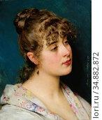 Blaas Eugene De - La Bella Veneziana - Austrian School - 19th Century. Редакционное фото, фотограф Artepics / age Fotostock / Фотобанк Лори