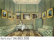 Barbarini Franz - Interior of a Sitting Room - Austrian School - ... Редакционное фото, фотограф Artepics / age Fotostock / Фотобанк Лори
