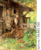 Engl Hugo - Eremit Mit Reh Und Kitz - Austrian School - 19th Century. (2020 год). Редакционное фото, фотограф Artepics / age Fotostock / Фотобанк Лори