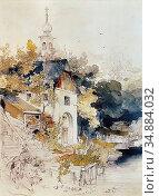 Hoger Joseph - Haus an Einem See - Austrian School - 19th Century. Редакционное фото, фотограф Artepics / age Fotostock / Фотобанк Лори