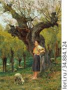 Huber Carl Rudolf - the Shepherdess - Austrian School - 19th Century. (2020 год). Редакционное фото, фотограф Artepics / age Fotostock / Фотобанк Лори