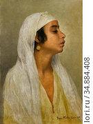 Kosler Franz Xaver - Portrait of an Egyptian Girl - Austrian School... Редакционное фото, фотограф Artepics / age Fotostock / Фотобанк Лори