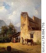 Raffalt Ignaz - Beim Köhler - Austrian School - 19th Century. Редакционное фото, фотограф Artepics / age Fotostock / Фотобанк Лори