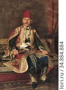 Ruben Franz Leo - Turkish Noble Seated in a Carpeted Interior - Austrian... Редакционное фото, фотограф Artepics / age Fotostock / Фотобанк Лори