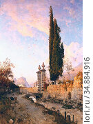Russ Robert - Landscape in Northern Italy - Austrian School - 19th... Редакционное фото, фотограф Artepics / age Fotostock / Фотобанк Лори