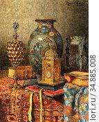 Schodl Max - Still Life with Antiques 3 - Austrian School - 19th ... Редакционное фото, фотограф Artepics / age Fotostock / Фотобанк Лори