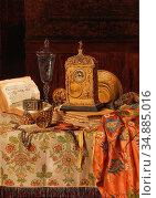 Schodl Max - Still Life with Antiques 4 - Austrian School - 19th ... Редакционное фото, фотограф Artepics / age Fotostock / Фотобанк Лори