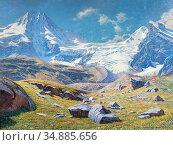 Blancpain Jules - Paysage Alpin Avec Le Breithorn Tschingelhorn Et... Редакционное фото, фотограф Artepics / age Fotostock / Фотобанк Лори