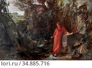 Bocklin Arnold - Petrarca an Der Quelle Von Vaucluse - Swiss School... Редакционное фото, фотограф Artepics / age Fotostock / Фотобанк Лори