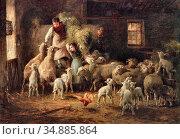 Chialiva Luigi - Feeding Time - Swiss School - 19th Century. Редакционное фото, фотограф Artepics / age Fotostock / Фотобанк Лори