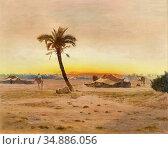 Pilny Otto - Oasis near Cairo - Swiss School - 19th Century. Редакционное фото, фотограф Artepics / age Fotostock / Фотобанк Лори