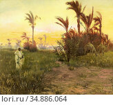 Pilny Otto - in the Oasis at Sunset - Swiss School - 19th Century. Редакционное фото, фотограф Artepics / age Fotostock / Фотобанк Лори