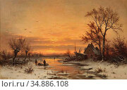 Schlesinger Carl - a Winter Sunset - Swiss School - 19th Century. Редакционное фото, фотограф Artepics / age Fotostock / Фотобанк Лори