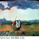 Segantini Giovanni - Die Heuernte - Swiss School - 19th Century. Редакционное фото, фотограф Artepics / age Fotostock / Фотобанк Лори
