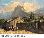 Ritz Rafael - Sion Vue De Tourbillon - Swiss School - 19th Century. Редакционное фото, фотограф Artepics / age Fotostock / Фотобанк Лори