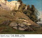 Steffan Johann Gottfried - Felsiger Hang - Swiss School - 19th Century... Редакционное фото, фотограф Artepics / age Fotostock / Фотобанк Лори