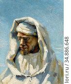 Buchser Frank - Portrait of a Bedouin - Swiss School - 19th Century. Редакционное фото, фотограф Artepics / age Fotostock / Фотобанк Лори